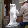 彫刻アトリエにて