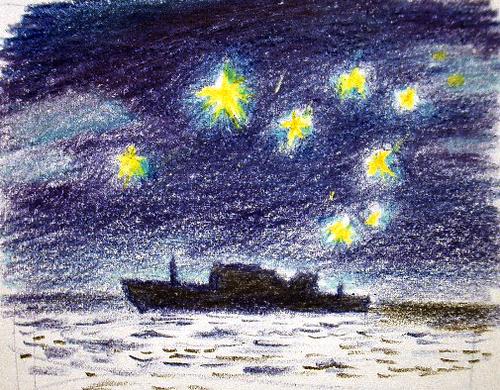 星空の輸送船